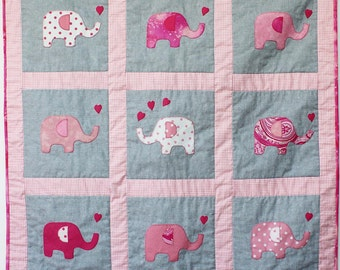 baby quilt pink blue yellow lilac elephants made to order play mat cot crib bed blanket gingham hearts pure cotton fabric wand wadding