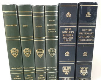 DECORATIVE Vintage Set of Harvard Classics and Reference Books for Display