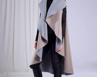 Longline Wool Vest/Gray Vest/Extravagant Vest/Unique Vest/Asymmetrical Vest/Gothic Vest/Minimalist Dress/Grey Wool Sleeveless Coat/Warm Top