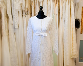 JONI // Vintage Wedding gown // 1960s wedding dress // Ivory with full lace train SALE