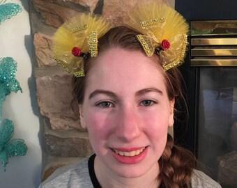 Belle, Beauty & the Beast, Rose, bow, hair clip, tulle, ribbon, micky ears