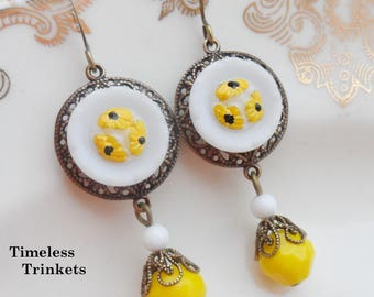 Sunflower, Vintage Glass Button Earrings, Yellow, Black, White