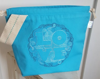 Let Love Fill The Void (turquoise) Drawstring Project Bag