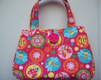 "Summer bugs printed Girl's purse,small purses,in a pink with summer bugs print cotton fabric,5"" x 7""  x 2"",button to close"