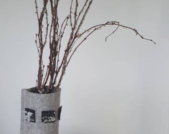 Grey marl 100% pure wool felt vase