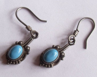 Vintage Sterling Silver Turquoise Southwestern Style Pierced Dangle Earrings