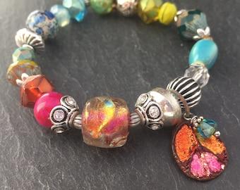 Basha Bead Bracelet, Inviciti, Peace Bracelet, Traveler Bracelet, Peace Sign, World Traveler, Vacation Bracelet, Mixed Beads