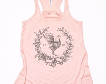 Farm Tank Top With Vintage Rooster