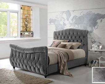Lachelle Upholstered Chesterfield Sleigh Bed Frame in Luxury Brushed Velvet Grey Handmade 4FT6 Double 5FT King or 6FT Super King