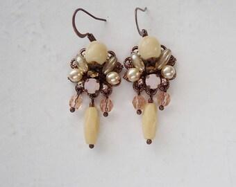 Beige Dangle Earrings. Beige Rhinestone Earrings in Vintage Style Jewelry. Nude Colors Jewelry for Gifts. Beige Earrings with Dangles