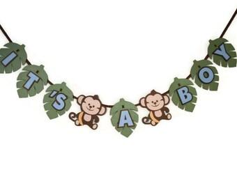 Monkey It's a Boy Baby Shower Banner - Boy Monkey Theme - Monkey Decorations - Baby Monkey - Jungle Theme - Its a Boy - Blue Green and Brown