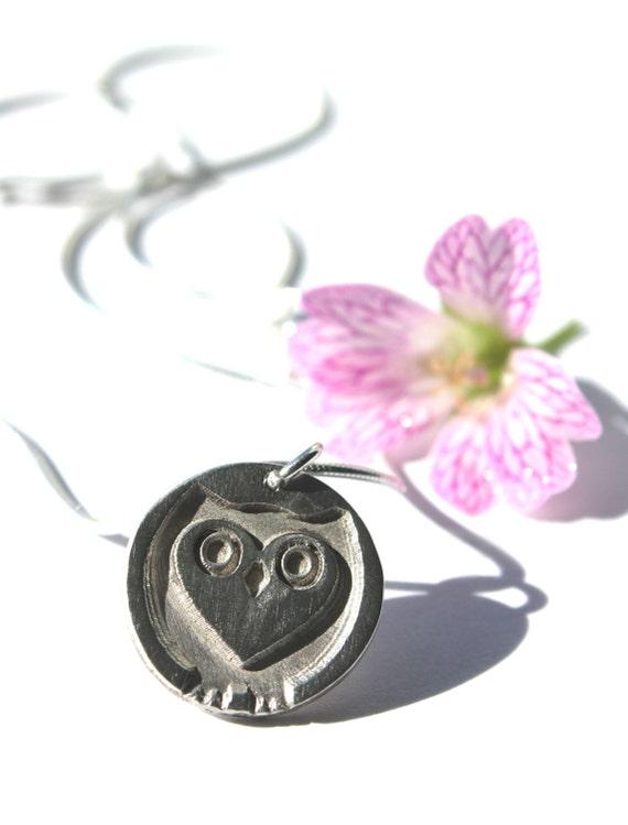 Silver owl necklace, owl necklace, owl pendant, nature jewellery, owl jewelry, woodland jewelry, owl necklace