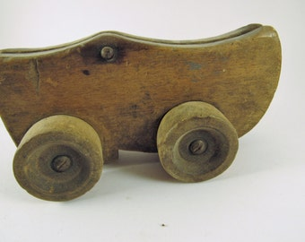 "Vintage Wooden ""Dutch"" Shoe Pull Toy"