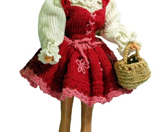 Costume of Little Red Riding Hood - PDF Pattern for doll Barbie, Barbie clothes crochet patterns, Barbie crochet patterns, doll clothes