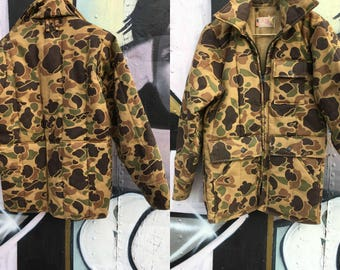 Vintage 70s puffer jacket goose down Canvas camo jacket Canvas coat - Small
