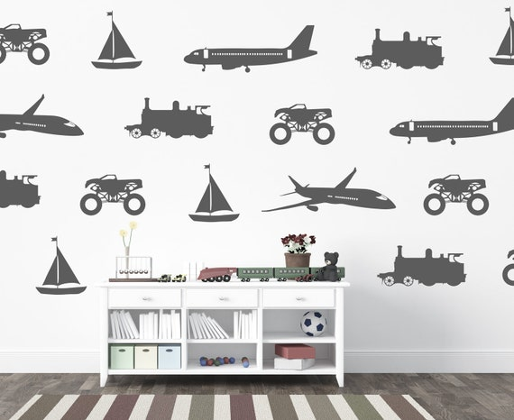 The Transportation Vehicles Collection Plane Boat Monster Truck Train Engine Cars Wall Decal Custom Nursery Baby Boys Room Decor #cars011