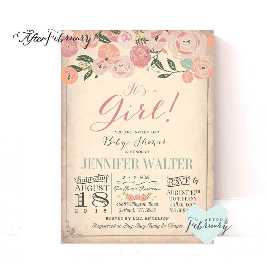 Baby Shower Invitation Vintage Peach Background Cottage