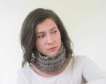 Brown Neck Warmer Neck Scarf | Chunky Scarf Infinity | Crochet Cowl | Trending Gifts