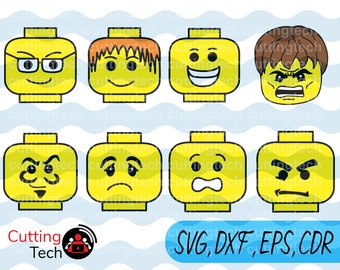Lego SVG, PNG, dxf Cut Files for Silhouette Cameo/Portrait and Cricut Explore DIY Craft Cutters, Lego Head scg, Lego dxf, Lego Face svg