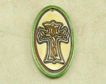 "Green Celtic Cross Oval Pendant - Irish Ireland St Patricks Bug Ivory Mocha Brown Clay River Designs 1 7/8"" Diameter I ship Internationally"