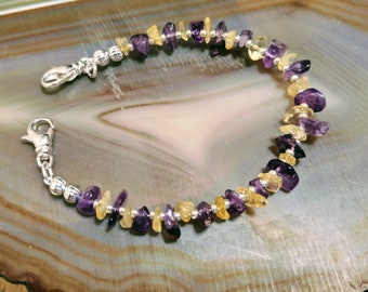Amethyst and citrine purple and gold gemstone multicolor medical alert bracelet available in five sizes