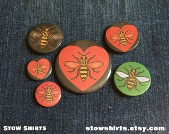 "Mancunicon Manchester Bee (charity donation) 58mm (2 1/4""), 38mm (1 1/2""), 25mm (1"") pin button badge or 25mm (1"") fridge magnet"