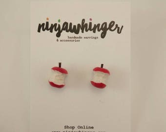 APPLESOLUTELY COREGEOUS Apple Core Stud Earrings Individually Hand Sculpted Hand Painted Polymer Clay Hypoallergenic Surgical Steel posts