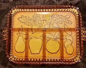 Indiana Glass Company Embossed Fruit Motif Divided Relish Serving Platter Tray 1970's Amber