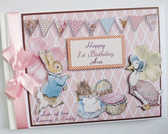 Peter Rabbit Birthday/Baby Shower Guest Book Personalised Memory Book  - any design