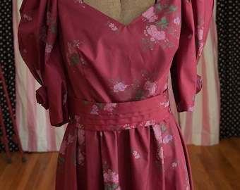 Vintage Gown - Bridesmaid Prom Floral Rosettes Pink Burgundy 80s