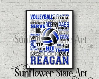 Volleyball Team Gift, Volleyball Typography, Volleyball Poster, Personalized Volleyball Poster, Volleyball Art, Girls Volleyball