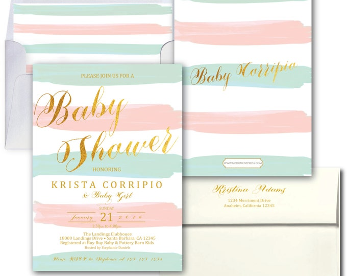Blush Pink Blue Baby Shower Invitation // Baby Sprinkle // Stripes // Sip and See // Watercolor // Boy or Girl // SANTA BARBARA COLLECTION