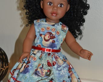 On Sale/Christmas dress, belt and hair ribbon for 18 inch doll