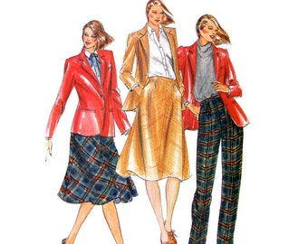 80s Jacket, Skirt, Pants Pattern Butterick 3381 Blazer, Trousers Womens Bust 36 Vintage Sewing Pattern UNCUT