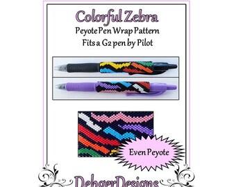 Bead Pattern Peyote(Pen Wrap/Cover)-Colorful Zebra