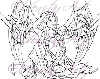 DIGI Stamp Printable Scrapbooking Card Making Crafts Fantasy Gothic Angel tattoos Birds Crows Wings Digital Stamp Download Coloring