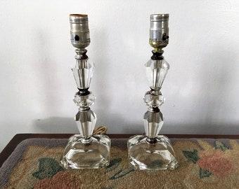 Vintage Mid-Century Lead Crystal Bedside Boudoir Lamps