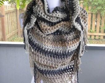 SALE Crochet Shawl ~ Lightweight Scarf ~ Any Season Scarf ~ Tan Shawl ~ Triangle Fringe Scarf ~ Crochet Fringe Scarf ~ Boho Scarf