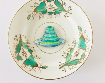 Jelly on Plate Cream Display Plate 3D Sculpture with Green Gold Floral Design for Wall Decor Birthday Wedding Anniversary Friend Gift