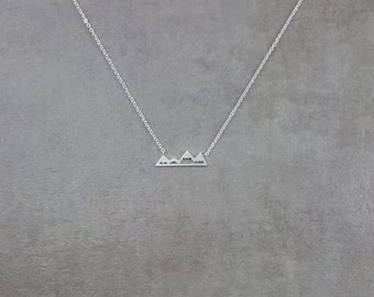 Mountain Ridgeline [SILVER] Plated Necklace Nature Choker Jewelry Peaks Natural Views Rocks