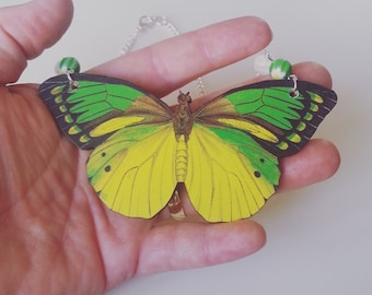 Huge, JUMBO, large,butterfly, moth, wooden, wood, feature necklace,green and yellow, necklace,short necklace, by NewellsJewels on etsy