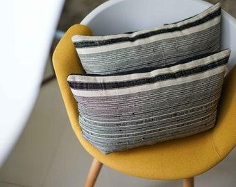 "12"" by 20"" Set of 2 Lumbar Hemp Vintage Hmong Hill Tribe Cushion Covers Ethnic Batik Thai"