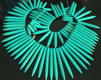 20-48mm Blue Turquoise Graduated Spike Beads 17 inches strand (e3659)