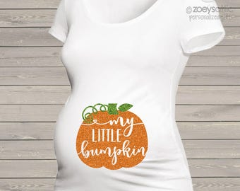 Fall pumpkin little bumpkin glitter maternity top - perfect for Halloween and Thanksgiving MMAT-072