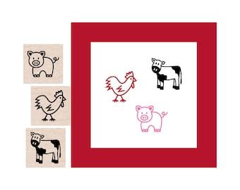 Mini Farm Animals Rubber Stamp set