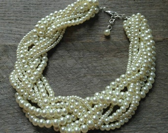 Yellow Ivory Pearl Necklace Statement Bridal Necklace Braided Cluster on Silver or Gold Chain