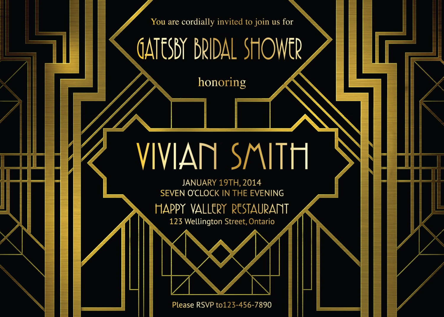 Great Gatsby Bridal Shower Invitation. Art Deco. Customized
