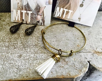 Handmade Tassel Bangle and Earring Sets  - 3 Sets in this listing.  Great for stacking.