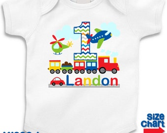 Personalized Transportation Airplane Plane Car Helicopter Train Birthday Party Shirt Boys 1st First 2nd 3rd 4th 5th 6th Birthday Party