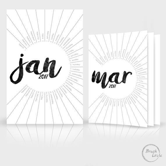 2017 2018 Calendar Template Modern Black & White Simple